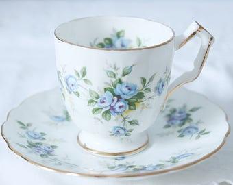 Vintage Aynsley Demitasse Cup and Saucer, Blue Rose Decor, England