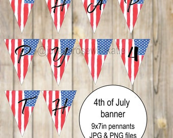 4th of July Party Banner, Red White and Blue, Pennant Banner, Instant Download, 9 x 7