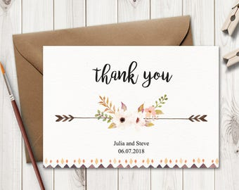 """Rustic Wedding Thank You Card Template """"Flower Fantasy"""" with Watercolor Flowers. DIY Printable Thank You Note. MS Word, Instant Download."""