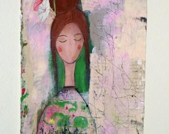 Mixed Media Painting, Original Mixed Media Art, Wall Art, Girl Art Angel Art, Loose Canvas