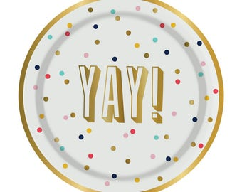 YAY! Party Plates with Gold Foil - Set of 8 Polka Dot Paper Plates with Gold Foil Lettering and Edging (by Slant Collections)