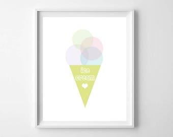Ice Cream Print, printable Art, Kids Ice Cream Print, Modern Ice Cream Print, Ice Cream Wall Art, Kids Room Decor, Nursery Decor