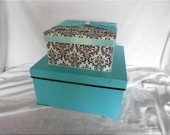Black and White Madison Damask with Aqua Wedding Money Gift Card Box Holder