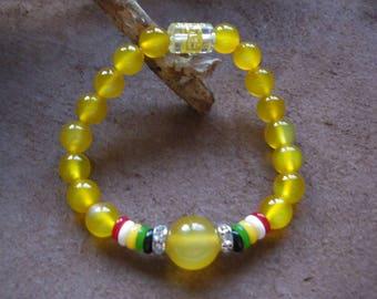 Yellow 8 mm agate Beads Bracelet