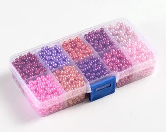 Box of 200 mixed 8 mm Pearl glass beads