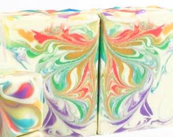 TUTTI FRUTTI Rainbow Soap Rainbow Artisan Soap Homemade Soap Cold Process Soap Handmade Soap Fruit Soap Handcrafted Soap Shea Butter Soap