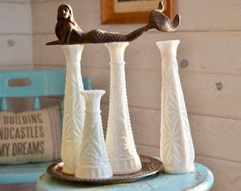 Set of 4 Vintage MilkGlass Vases, Wedding Table Decor