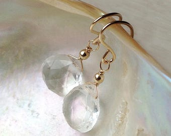 Clear crystal earrings, Clear quartz earrings, rock crystal bridal earrings, gold wedding jewelry, silver drop, April birthstone
