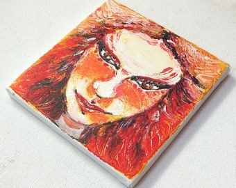 Portrait Orange hair - small painting in acrylic on canvas
