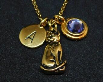 Golden Cat necklace, swarovski birthstone, initial necklace, birthstone necklace