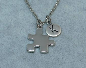 Silver Puzzle with Initial necklace, initial charm, puzzle charm, puzzle pendant