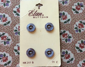 """Vintage 4 New Pearly Blue Round Buttons 3/8"""" Plastic by Elan"""