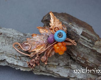 Brooch lampwork berries Blueberry brooch murano glass beads botanical brooch electroformed jewelry blue green brooch cloudberry nature gift