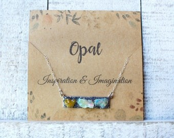 Opal Birthstone Necklace, Opal Jewelry for Her, Birthstone Bar Necklace, Opal Necklace, Opal Birthstone Gift, Bar Necklace for Her