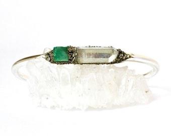 Raw Emerald Jewelry, Emerald Gift for Her, Emerald Jewelry for Women, Rough Emerald Jewelry, Emerald Birthstone Bracelet, May Birthstone