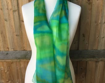 Silk scarf - Green stripes
