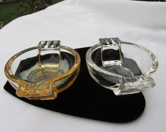 SALE Sale 2 Vintage Glass Ashtrays