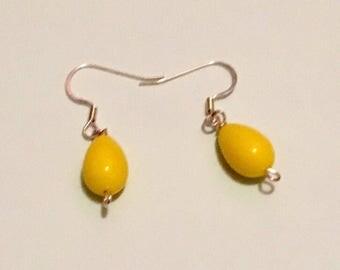 Yellow raindrop earrings