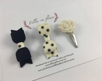 Wool felt mini bow hair clip + Spotty Glitter mini bow clip + Mini wool felt rose snap clip- Babies/Girls. Choose your colours! Hair clips