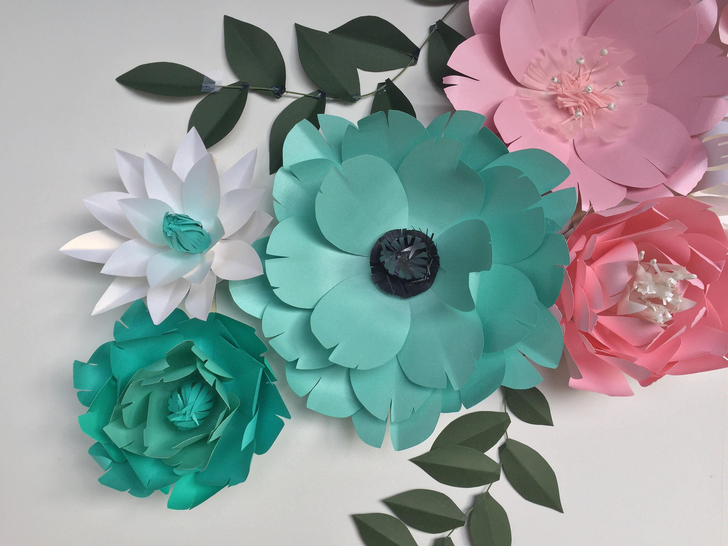 Paper flowers wall decor baby girl nursery room paper flowers paper flowers wall decor baby girl nursery room paper flowers large teal wall paper flowers pink paper flowers wedding party backdrop amipublicfo Images