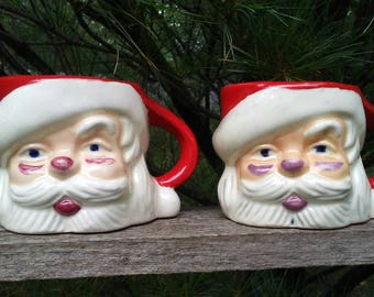 2 Vintage Santa head mugs Christmas cups 1950's holiday decor ceramic hand painted mid century Kitchmas decorations