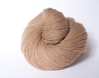Schafwolle #02 - organic wool yarn - light beown - semisolid - knitting yarn