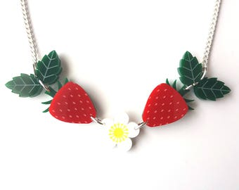 Strawberry Necklace - laser cut necklace with bright red strawberries and flower