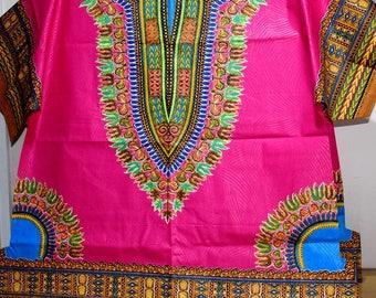 Fuchsia Angelina Dashiki Large Shirt,  Unisex Dashiki Shirt,  Afro Shirt - Made to order