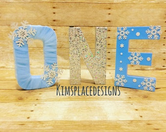 Winter Wonderland, Winter Onederland theme, Onderland theme, Paper Mache Letters, ONE, First Birthday, 1st Birthday, One letters