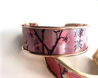 Cuff Bracelet pink recycled bobbin
