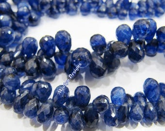 AAA Best Quality Genuine Blue Sapphire Briolette Beads 4x6 to 7x10mm , Natural Blue Sapphire Graduated Teardrop Shape Beads , Strand 9 inch.