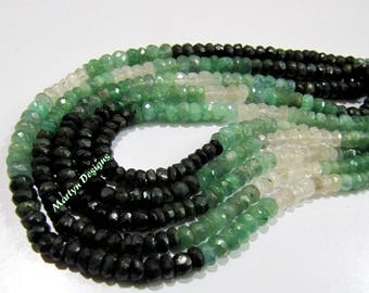 AA Quality Natural Emerald Shaded Rondelle Faceted Beads , Genuine Untreated Emerald 4-5mm Beads , Strand 8.5 inch long , Precious Gemstone.