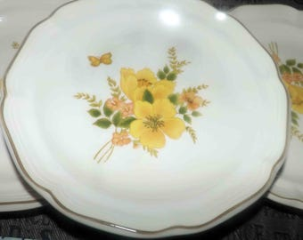 Vintage (c. early 1980s) Sango | Sangostone Butterfly pattern 3411 large dinner plate | charger. Orange, yellow flowers, yellow butterfly.