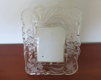 rare large glass clear and frosted 1950 1960 50's 60's mid century old giant vintage glass frame Art Nouveau Art Deco photo frame