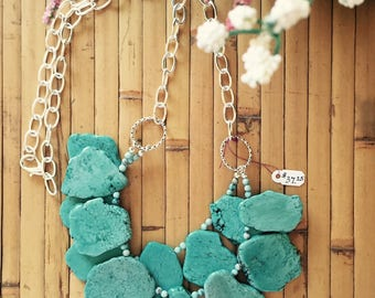 Double Strand Slab Stone Chunky Necklace