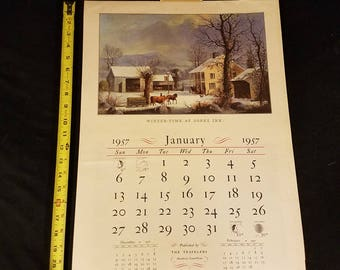1957 Complete Calendar of Currier and Ives lithograph prints - The Travelers Hartford Connecticut Insurance advertising