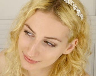 Wedding Bridal Headband Tiara of Swarovski Rhinestone Accented Enameled Rum Pink on Ivory Metal Flowers (#93FC1)