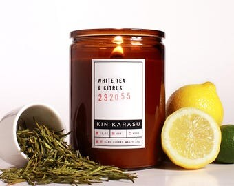White Tea & Citrus scented candle | 100% soy wax candle with wood wick