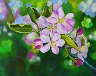 blossom painting , nursery decor , pink flower painting , original art