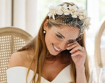 Vintage Style Bride fascinator, bride veil,  bride tiara, bride flower crown, bride hair flowers
