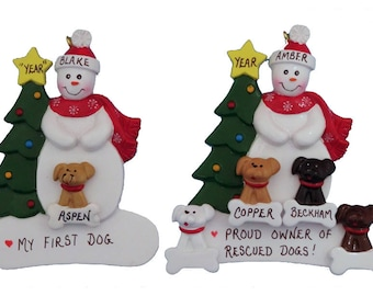 Personalized Dog Lover Ornament - My First Dog Ornament -Rescued Dog Owner Ornament - Single Snow with Dog Ornament - Single Snow with Dogs