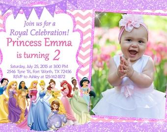 Disney Princess Invitation, Disney Princess Birthday, Disney Princess Party