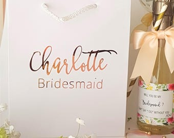 Medium White Personalized Gift Bags with Name and title