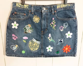Fun & Flowery Artsy Faded Denim Mini Skirt