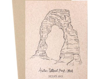 Delicate Arch, Arches National Park, Utah, National Parks Collection, Kraft Paper, Hand Illustrated, Nature Illustrations, Travel