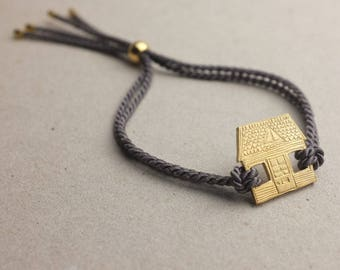 House cord bracelet   Engraved brass cord bracelet   House bracelet   Gold plated bracelet   Cord friendship bracelet