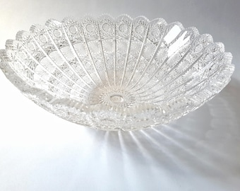 Czechoslovakia Leaded Crystal Cut To Clear Glass Bowl ~ Bohemian Vintage Art Hand Made Glass Vase