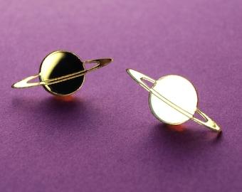 Laser Cut Gold Mirror Acrylic Saturn Planet Stud Earrings / Stainless Steel Posts / Space Jewelry / Celestial Earrings / Minimalist & Modern