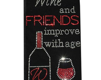 Wine & Friends Rhinestone Wine Bag