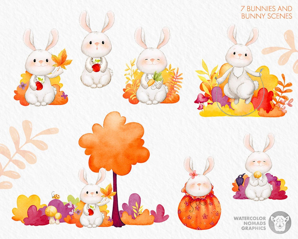 fall clipart cottontail bunny autumn clipart fall leaves